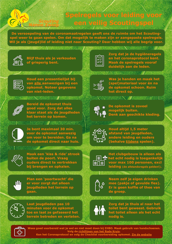 Spelregels voor leiding vanaf 28-08-2020